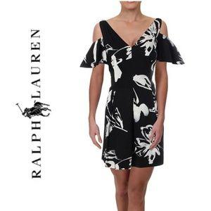NWT RALPH LAUREN Floral Cold Shoulder Party Dress